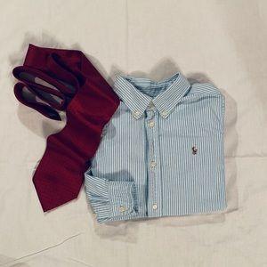 👔 3/$45 Boys 7 Ralph Lauren Striped Cotton Oxford